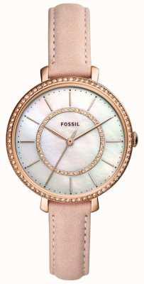 Fossil Bracelet en cuir beige pour femme, acier inoxydable nacre ES4455