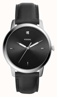 Fossil Bracelet en cuir noir pour homme avec cadran noir FS5497