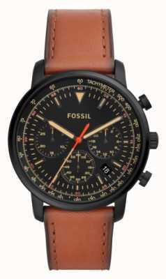 Fossil Cadran noir en acier inoxydable pour homme en cuir brun avec chronographe FS5501