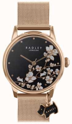 Radley Montre pour femme avec bracelet à mailles en forme de fleur et cadran noir RY4346