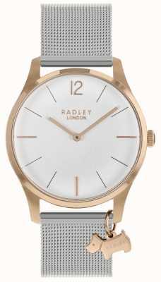 Radley Montre femme Boîtier en or rose Bracelet maille argent RY4355