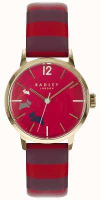 Radley Dames données chien claret cadran brillant cuir RY2676