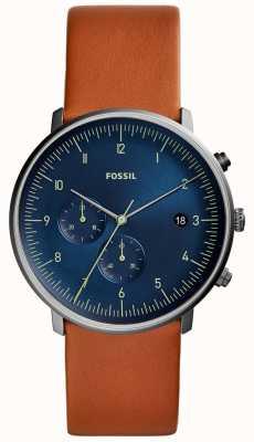 Fossil Montre chase homme en cuir brun avec cadran bleu FS5486