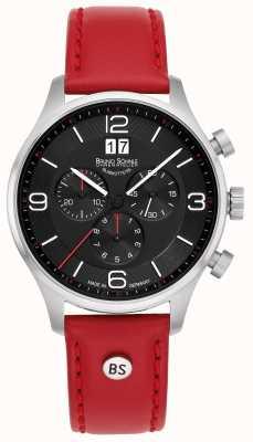 Bruno Sohnle Padua chronographe | bracelet en cuir rouge 17-13196-723