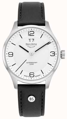 Bruno Sohnle Hommes padoue | cadran blanc | bracelet en cuir noir 17-13199-961