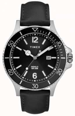Timex | hommes | indiglo harborside | cadran noir | cuir noir | TW2R64400D7PF