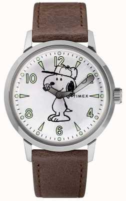 Timex Snoopy welton cadran argenté bracelet en cuir marron TW2R94900