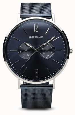Bering Classique | argent poli | jour date bleu 14240-303
