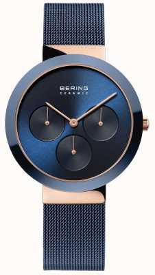Bering En céramique | boîtier en or rose poli | cadran bleu 35036-367