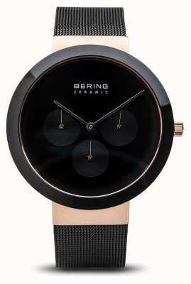 Bering En céramique | boîtier en or rose poli | cadran noir 35040-166