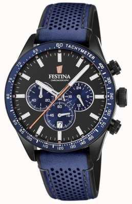 Festina Bracelet en cuir bleu cadran noir pour homme F20359/2