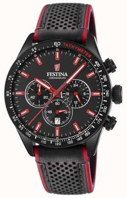 Festina Bracelet en cuir noir cadran noir pour homme F20359/4