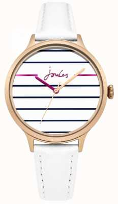Joules Bracelet pour femme en cuir blanc marina joules avec cadran blanc JSL013WRG