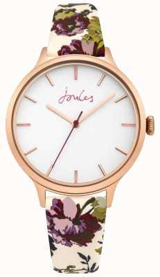 Joules Bracelet en cuir à fleurs blanc pour femmes joules casey cadran blanc JSL003VRG
