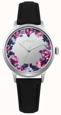 Joules Bracelet en cuir noir pour femme avec cadran à fleurs argenté JSL005B