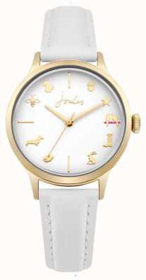 Joules Bracelet en cuir blanc pour femme avec cadran blanc JSL011WG