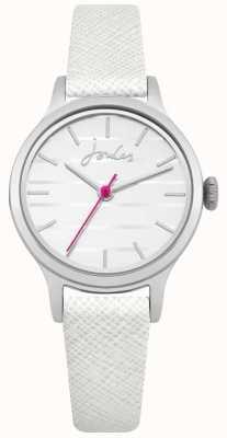 Joules Bracelet en cuir saffiano blanc pour femme avec cadran blanc JSL012W