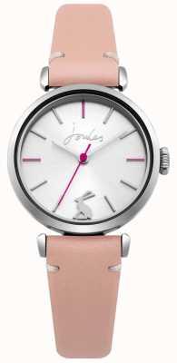 Joules Bracelet en cuir rose pour femme, cadran argenté rayon de soleil JSL004P