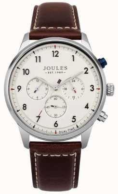 Joules Bracelet pour homme en cuir brun avec cadran crème et chronographe JSG007BR
