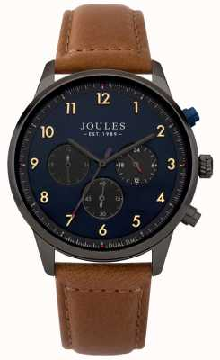 Joules Bracelet homme en cuir marron cadran bleu chronographe JSG007TB