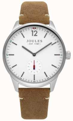 Joules Bracelet en cuir beige mat avec cadran blanc JSG005T