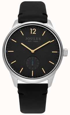 Joules Bracelet en cuir noir cadran gris mat JSG005B