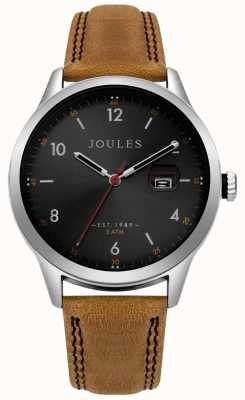 Joules Bracelet pour homme sanderson en cuir beige avec cadran noir JSG004T