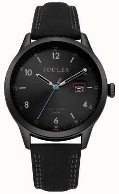 Joules Bracelet pour homme sanderson en cuir noir avec cadran noir JSG004BB