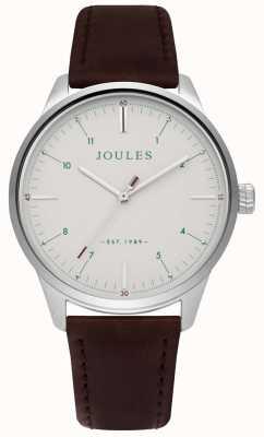 Joules Bracelet en cuir marron pour homme cadran crème mat JSG002BR