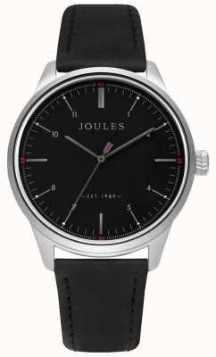 Joules Bracelet en cuir noir cadran noir mat JSG002B