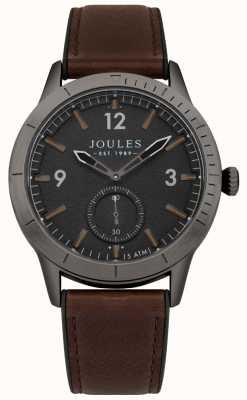 Joules Bracelet en cuir marron ryley pour homme avec cadran noir JSG006BRB