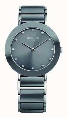 Bering Bracelet en acier inoxydable gris céramique cadran gris 11435-789