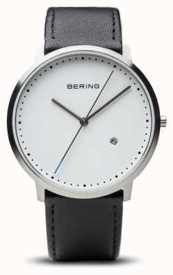 Bering Bracelet en cuir noir cadran blanc unisexe 11139-404