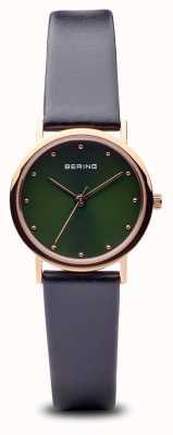Bering Classique | bracelet or noir poli cadran vert 13426-469