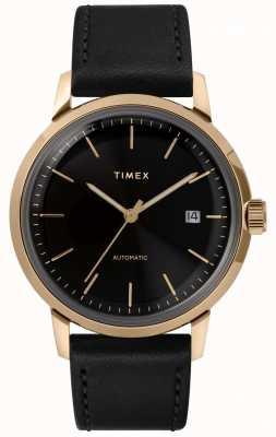 Timex Montre automatique à bracelet en cuir noir Marlin pour homme TW2T22800