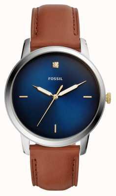 Fossil Montre minimaliste pour homme avec bracelet en cuir marron et cadran bleu FS5499