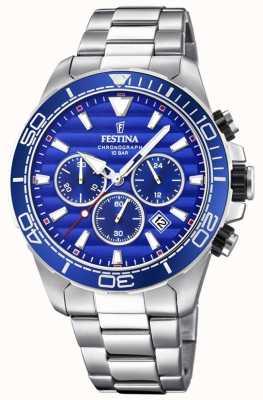 Festina Cadran bleu chronographe en acier inoxydable pour homme F20361/2