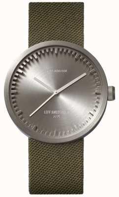 Leff Amsterdam Montre tube d38 boitier acier cordura bracelet vert LT71004
