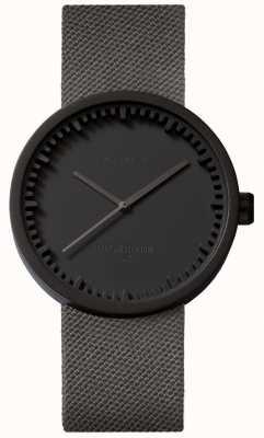Leff Amsterdam Montre tube d38 | cordura noir mat | bracelet gris LT71015