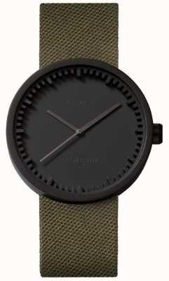 Leff Amsterdam Montre tube d38 cordura boîtier noir mat bracelet vert LT71014