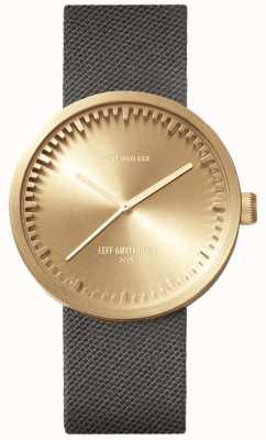 Leff Amsterdam Montre tube d38 | laiton cordura | bracelet gris LT71025