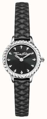 Thomas Sabo Boîtier en acier inoxydable pour femme, bracelet en cuir noir, cadran noir WA0328-203-203-19