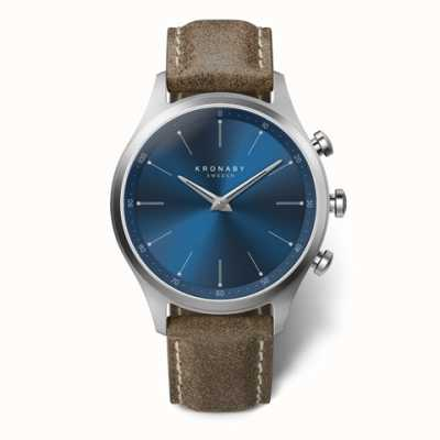 Kronaby Hommes sekel 41 | cadran bleu | bracelet en cuir truffe a1000-3759 S3759/1