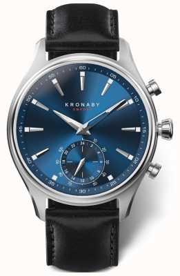 Kronaby Bracelet en cuir noir avec cadran bleu 41 mm a1000-3758 S3758/1