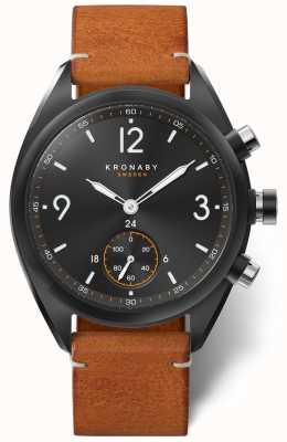 Kronaby Mens apex 41 cadran noir bluetooth, cuir marron a1000-3116 S3116/1
