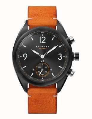 Kronaby Mens apex 41 cadran noir bluetooth, cuir marron a1000-3116 S3116/1