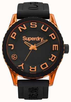 Superdry Tokyo | bracelet en silicone noir | cadran noir | accents orange SYG145BOA