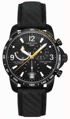 Certina Mens ds | chronographe podium | cadran noir | Cuir noir C0016391605701