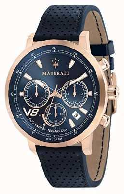 Maserati Hommes gt 44mm | solaire | boîtier en or rose | cadran bleu | cuir R8871134003