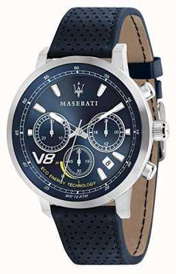 Maserati Hommes gt 44mm | solaire | boîtier en argent | cadran bleu | cuir bleu R8871134002